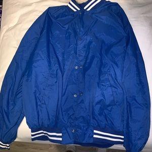 Vintage Blue Varsity Bomber Jacket